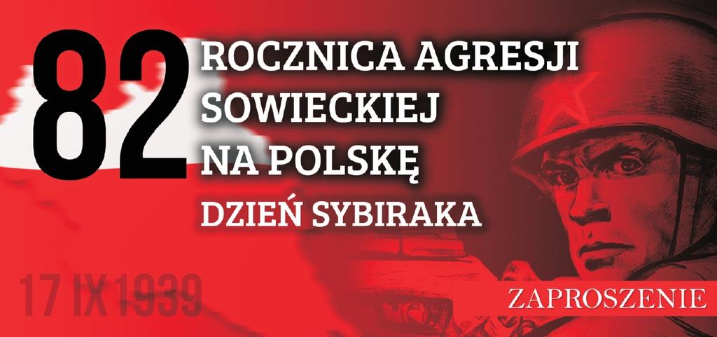 baner promujący uroczystości na czerwonym tle żołnierz sowiecki z gwiazdą na hełmie i napis 82. rocznica agresji sowieckiej na Polskę 17.IX.1939 Zaproszenie