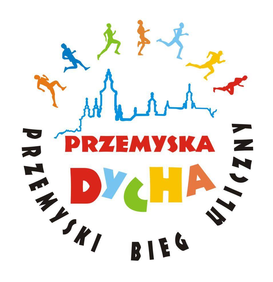 banerek biegu - zarys panoramy miasta, okalanej przez różnokolorowe sylwetki biegaczy i napis Przemyski Bieg Uliczny Przemyska Dycha