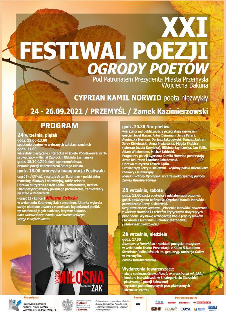 Plakat Festiwalu: tło utrzymane w barwach jesieni, zdjęcie Katarzyny Żak, treść powtórzona w treści komunikatu