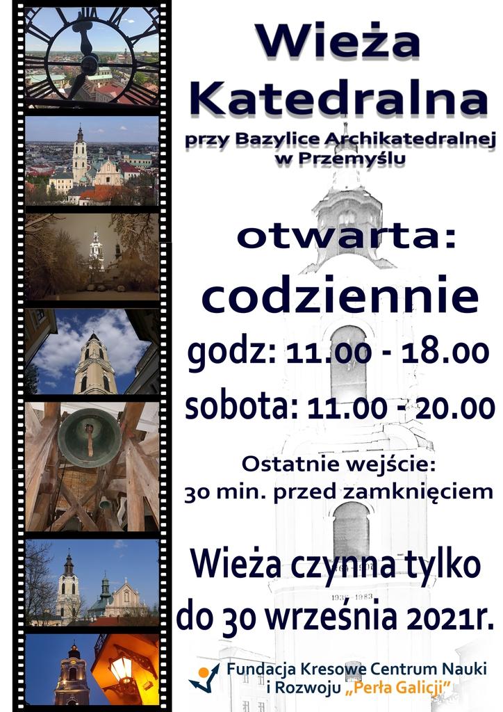 Zdjęcia wieży katedralnej i treść powtórzona w trreści komunikatu