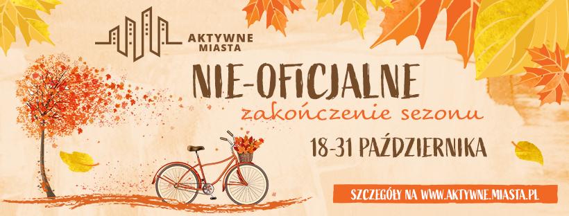 banerek promujący wydarzenie - rower z koszykiem pełnym kolorowych liści i jesienne drzewo  AKTYWNE MIASTA NIE-OFICJALNE zakończenie sezonu 18-31 PAŹDZIERNIKA SZCZEGÓŁY NA WWW.AKTYWNE.MIASTA.PL
