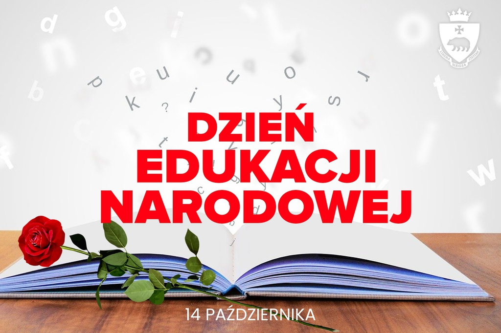 Ilustracja do życzeń otwarta książka, obok czerwona róża i napis Dzień Edukacji Narodowej