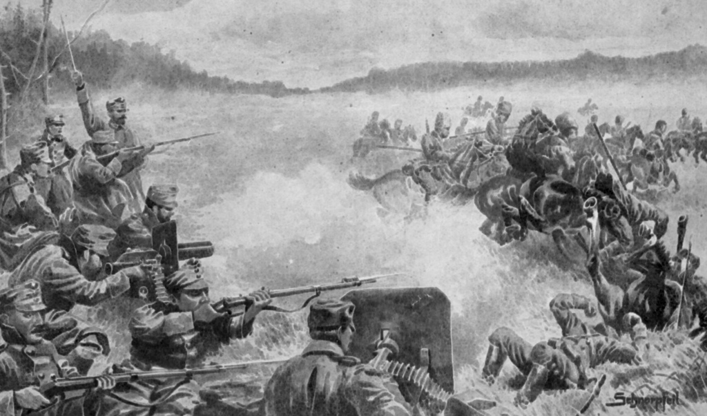 Piechota honvedów odpiera atak kozaków.jpeg