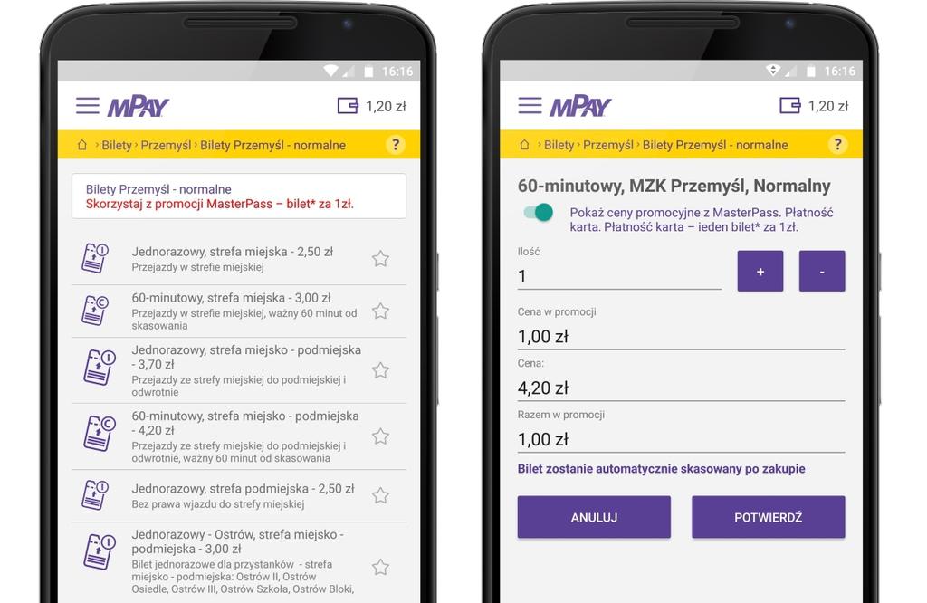 Aplikacja mPay - zakup biletu za 1 zl.jpeg