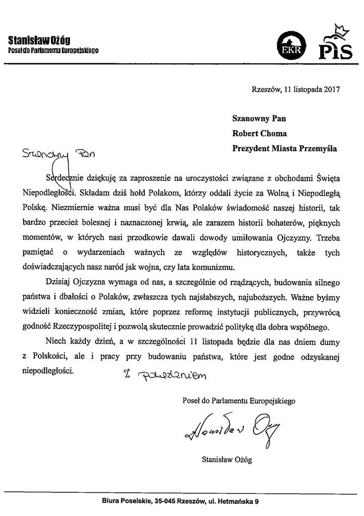 List z okazji Narodowego Dnia Niepodległości.jpeg