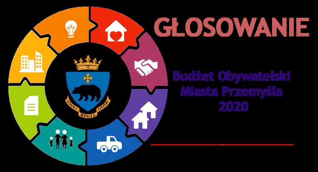 Grafika informująca o głosowaniu w Budżecie Obywatelskim Miasta Przemyśla na 2020 rok.