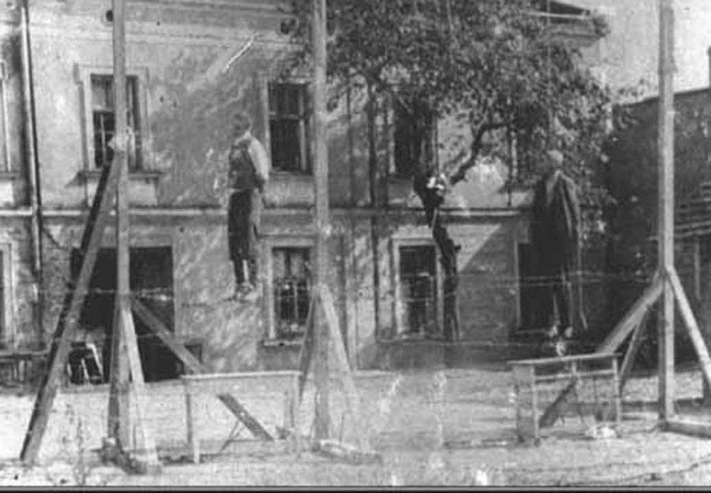 Egzekucja Michała Kruka oraz innych Polaków za pomoc ludności żydowskiej, fot. ze zbiorów MNZP.