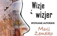 """Fragment plakatu z wizerunkiem profilu ludzkiej twarzy i napisem """"Wizje i wizjer"""" Spotkanie autorskie Marii Żemełko"""