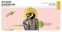 Fragment plakatu wystawy z grafiką z jednej z prac, z napisem Sylwia Zawiślak wystawa linorytów Galeria Sztuki Współczesnej w Przemyślu 26.03 - 5.05. 2021