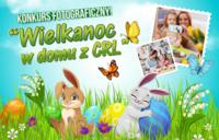 kolorowa plansza z motywami wiosenno-wielkanocnymi (kwiaty, króliczki, pisanki), zatytułowana - konkurs fotograficzny Wielkanoc w domu z CRL