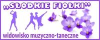 Baner promujący wydarzenie pt. Słodkie Fiołki. Na banerze tytułowe kwiaty oraz roztańczone pary.