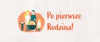 baner promocyjny programu - grafika przedstawiająca rodzinę i napis Po pierwsze rodzina!