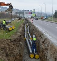budowa sieci ciepłowniczej w pobliżu Mostu Brama Przemyska