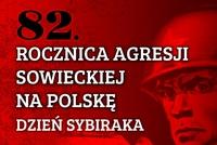 na czerwonym tle żołnierz sowiecki z gwiazdą na hełmie i napis 82. rocznica agresji sowieckiej na Polskę 17.IX.1939
